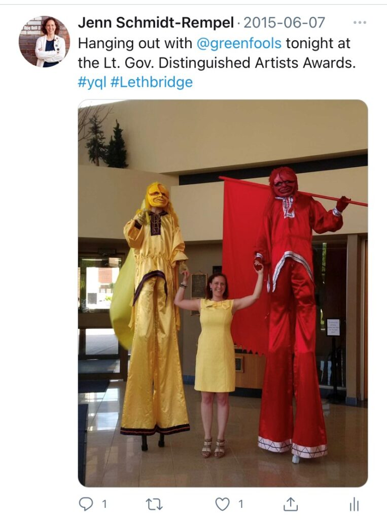 Tweet from Jenn Schmidt-Rempel featuring her and two of the Green Fools performers at the Lt. Governor's Arts Awards